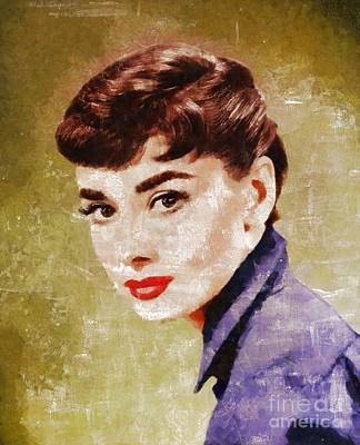 Actors Royalty-Free and Rights-Managed Images - Audrey Hepburn by Mary Bassett by Mary Bassett