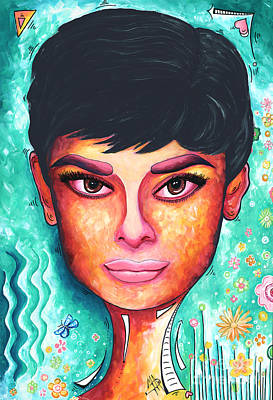 Audrey Hepburn Colorful Pop Art Style Original Painting Print by Megan Duncanson