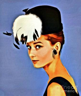 Actors Royalty-Free and Rights-Managed Images - Audrey Hepburn, Digital Art by Mary Bassett by Mary Bassett