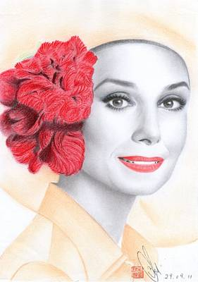Art Print featuring the drawing Audrey Hepburn by Eliza Lo