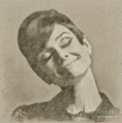 Actors Drawing - Audrey Hepburn Hollywood Actress by Frank Falcon