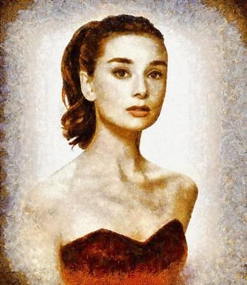 Actors Paintings - Audrey Hepburn Hollywood Actress by John Springfield