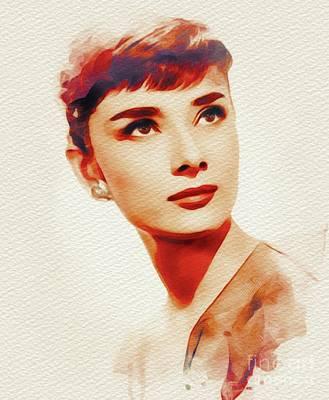 Actors Paintings - Audrey Hepburn, Hollywood Legend by John Springfield