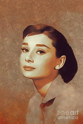 Actors Paintings - Audrey Hepburn, Hollywood Legends by Mary Bassett