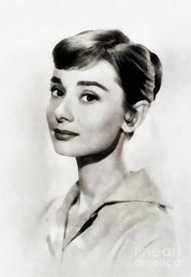 Actors Paintings - Audrey Hepburn, Vintage Actress by JS by John Springfield