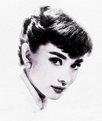 Actors Royalty Free Images - Audrey Hepburn, Vintage Actress Royalty-Free Image by John Springfield