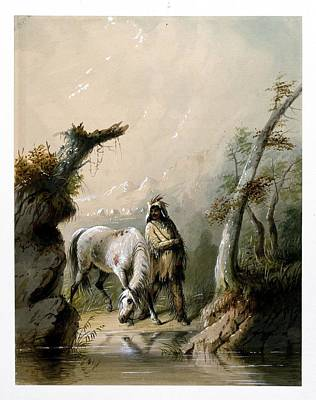 Man And His Horse Painting - Auguste And His Horse by Alfred Jacob Miller