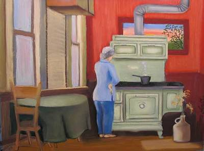 Pastel - Allen's Princess Cookstove by Mary Hollinger