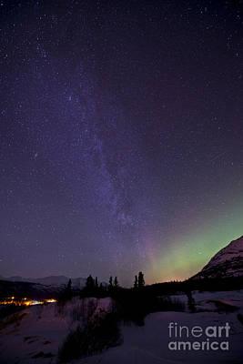 Aurora Borealis And Milky Way Print by Jonathan Tucker