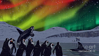 Penguin Digital Art - Aurora Borealis by Methune Hively