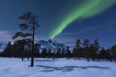 Polar Aurora Photograph - Aurora Borealis Over Nova Mountain by Arild Heitmann