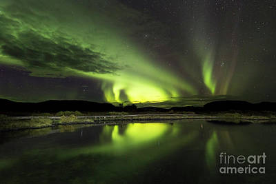 Photograph - Aurora Borealis Over Thingvellir Iceland by Gunnar Orn Arnason