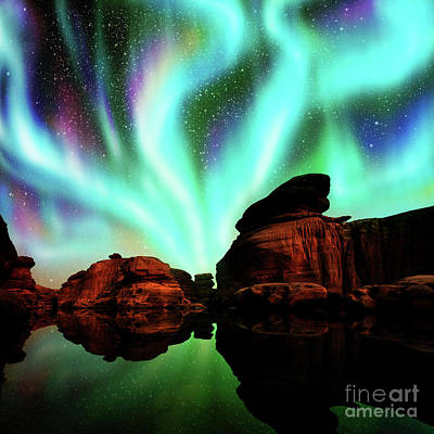 Phenomenon Digital Art - Aurora Over Lagoon by Atiketta Sangasaeng