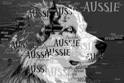 Domestic Animals Digital Art - Aussie by Nancy Merkle