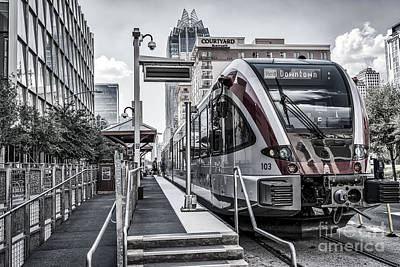 Train Photograph - Austin City Rail In Black And White by Tod and Cynthia Grubbs