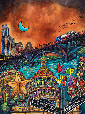 Austin City Limits Painting - Austin Montage by Patti Schermerhorn