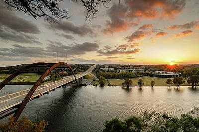 Austin Pennybacker 360 Bridge Sunset Art Print by Preston Broadfoot