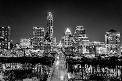 Austin Skyline Photograph - Austin Skyline In Black And White by Tod and Cynthia Grubbs