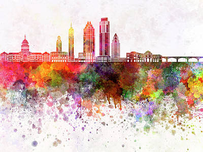 Austin Skyline Painting - Austin Skyline In Watercolor Background by Pablo Romero