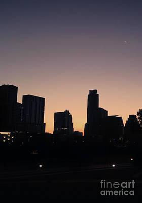 Photograph - Austin Skyline Sunrise Into A Crescent Moon by Felipe Adan Lerma