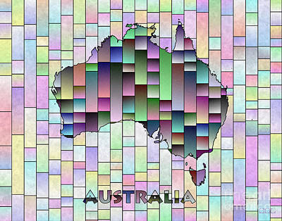 Digital Art - Australia Map Glasa In Multi Colors by Eleven Corners