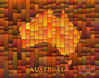 Digital Art - Australia Map Glasa In Orange by Eleven Corners