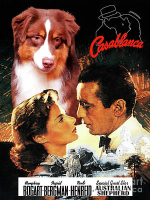 Painting - Australian Shepherd Art -  Casablanca Movie Poster by Sandra Sij