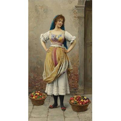 Eugen Von Blaas Painting - Austrian The Market Girl by MotionAge Designs