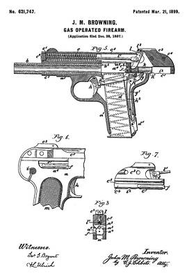 Drawing Photograph - Automatic Pistol Operated By Gas - Patent Drawing For The 1899 Gas Operated Firearm By J. M. Brownin by Jose Elias - Sofia Pereira