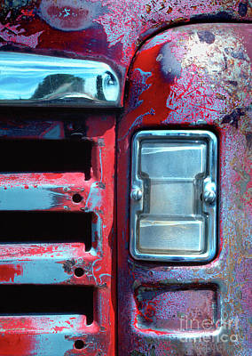 Photograph - automobiles salvage art photograph - Once Red Truck by Sharon Hudson