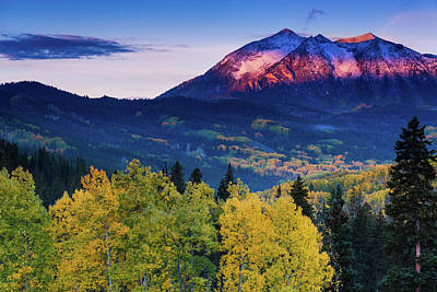 Photograph - Autumn Alpenglow by John De Bord