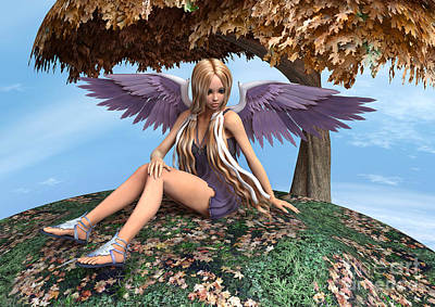 Digital Art - Autumn Angel by Design Windmill