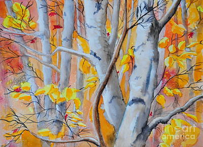Painting - Autumn Birch by John W Walker