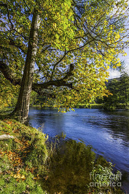 Clouds Rights Managed Images - Autumn By The River Royalty-Free Image by Ian Mitchell