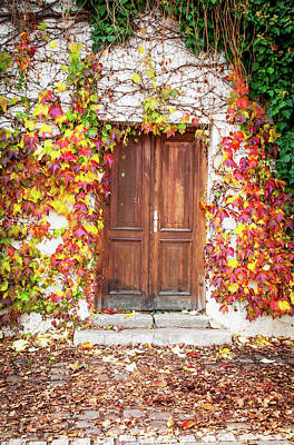 Photograph - Autumn Decoration For Wooden Doorway. Prague 1 by Jenny Rainbow