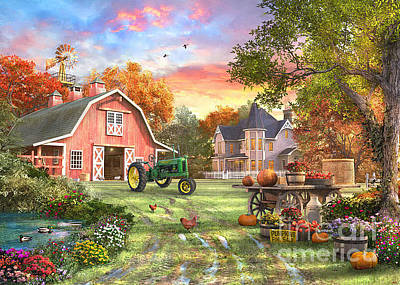 Duck Digital Art - Autumn Farm by Dominic Davison