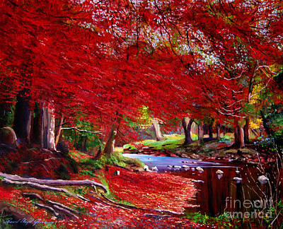 Maples Painting - Autumn Fire by David Lloyd Glover