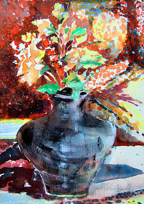 Mums Painting - Autumn Flowers by Mindy Newman