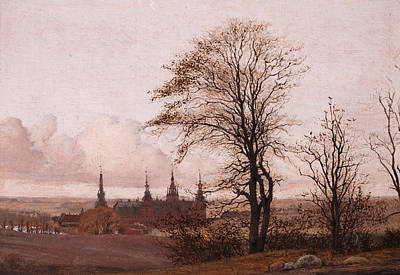 Autumn Landscape. Frederiksborg Castle In The Middle Distance Print by Christen Kobke