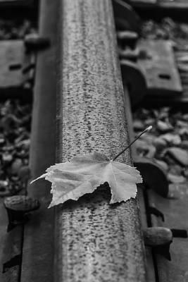 Autumn Leaf Photograph - Autumn Leaf On Railroad Tracks by Garry Gay
