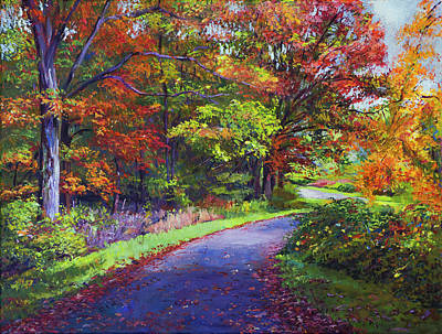 Fallen Leaf Painting - Autumn Leaf Road by David Lloyd Glover