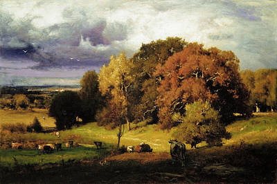 Inness Painting - Autumn Oaks by George Inness
