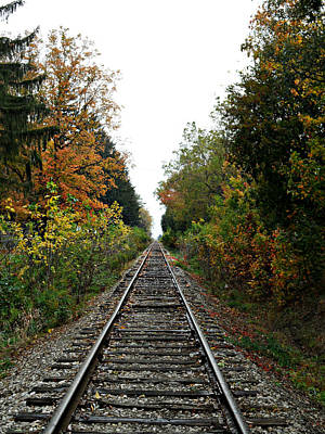 Photograph - Autumn Rails by Cyryn Fyrcyd