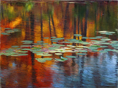 Pond Painting - Autumn Reflections I by Ron Morecraft