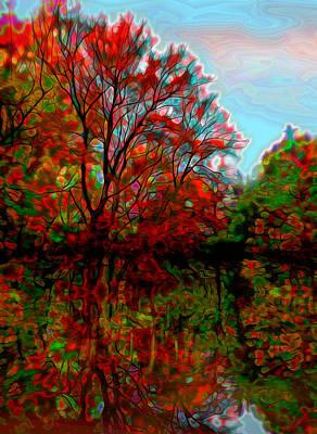 Plein Air Mixed Media - Autumn Reflections by Lilia D