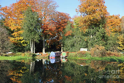 Photograph - Autumn Reflections Wey Canal Surrey Uk by Julia Gavin