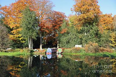 Photograph - Autumn Reflections Wey Canal Surrey Uk by Julia Gavin