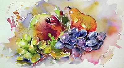 Grapes Painting - Autumn Still Life by Kovacs Anna Brigitta