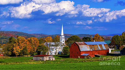 Photograph - Autumn View Of Congregational Church In Peacham Vermont by Scenic Vermont Photography