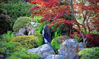 Photograph - Autumn Waterfall - Digital Art 5x3 by Carol Groenen